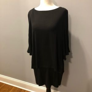 Solid black two tier Tunic